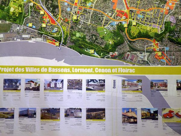 Carte de la Rive Droite : Bassens, Lormont, Cenon, Floirac