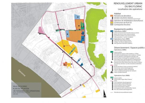 Plan de situation des opérations de renouvellement urbain du bas Floirac