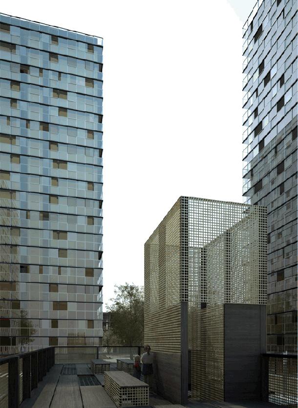 Résidence Saint-Hilaire, Lormont. Vue d'artiste du projet en cours / Blog Rive Droite © Lan Architecture